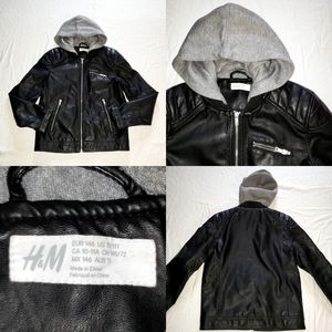 H&M Kids Unisex Faux Biker Leather Jacket Hoodie
